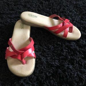 Red Sunjuns sandals